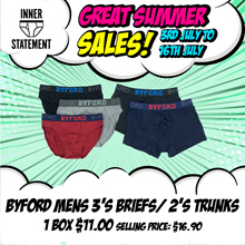 BYFORD 3PCS MENS BRIEFS | COTTON ELASTANE| HIPSTER |  #978486 #978488