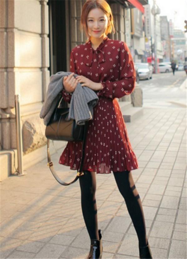 2016新作 レディース ワンピース 春 長袖 花柄 シフォン フラワープリント ミニワンピ 膝丈 オフィス