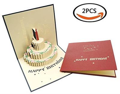 2PCS Premium Papercraft 3D Pop Up Birthday Cards Customized Greeting Words Creative Gift