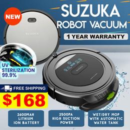 (▼44%) [Introductory Offer] Qoo10 Exclusive Suzuka Robot Vacuum | UV Sterilisation Kills 99.99%