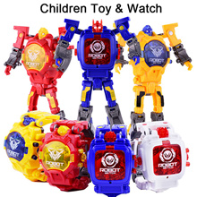 Trasformation Wristwatch Toy Children Sports Cartoon Watches Kids Robot Transformation Toys
