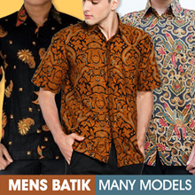 Free Delivery - Men Collection - Tops Hem Men Shirt Long Batik Short - Office Shirts