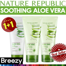 BREEZY ★ Soothing + Moisture 1+1 [Nature republic] Aloe Vera Ceansing  1+1 total 300ml / Foam Cleanser / Gel Cream / Gel Foam /