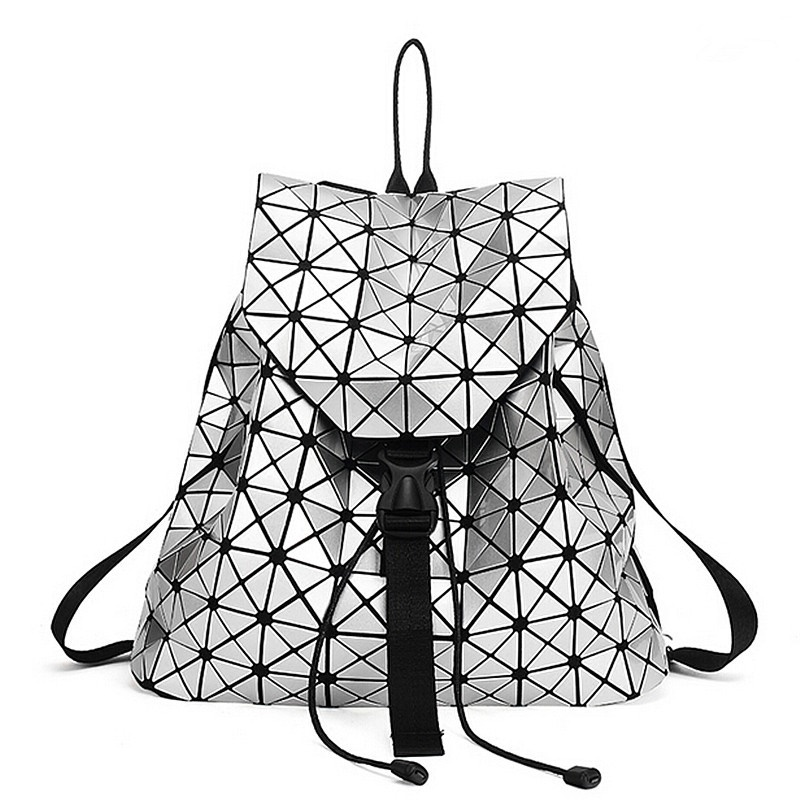 online Fashion Women Backpack Silver Geometric Patchwork Diamond Lattice  For Teenage Girl BaoBao Sch