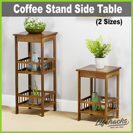 ★ Coffee Stand Side Table ★ 2 3 or 4 Tiers! Vintage Unique Design • Wooden • Bedside/ Sofa Side Use