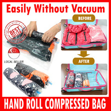 Hand roll seal bag/Vacuum Storage / Clothes ★Easily without vacuum!★Just Roll it by Hand!/ Travel