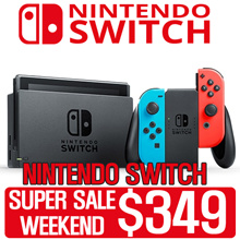 [$349 SUPER SALE WEEKEND!] Nintendo Switch Console Super Bundle (Grey // Neon Red/Blue)