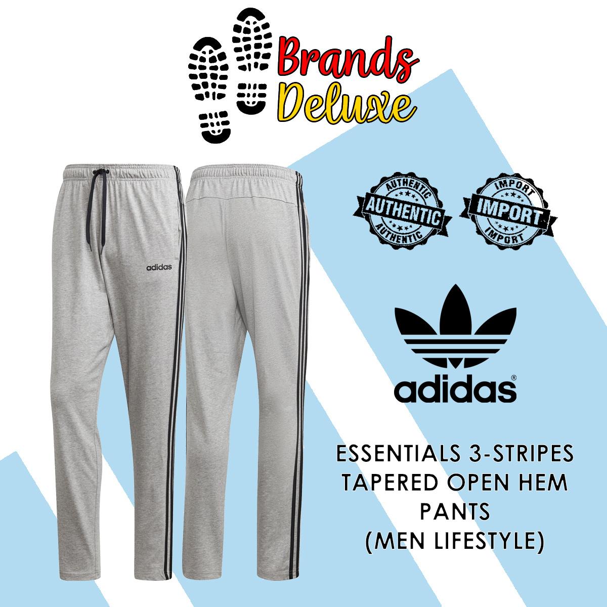 adidas Essentials 3 Stripes Tapered Open Hem Pants Black | adidas Singapore
