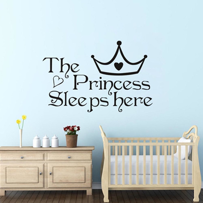 The Princess wall stickers sleeps here wall decals home decor wall art  quote bedroom wallpaper DIY w