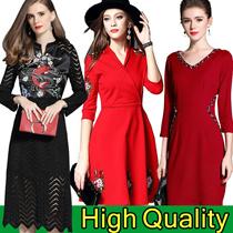 Europe Korean high-end fashion dress/Banquet/Cocktail dress/Office occupation/elegant