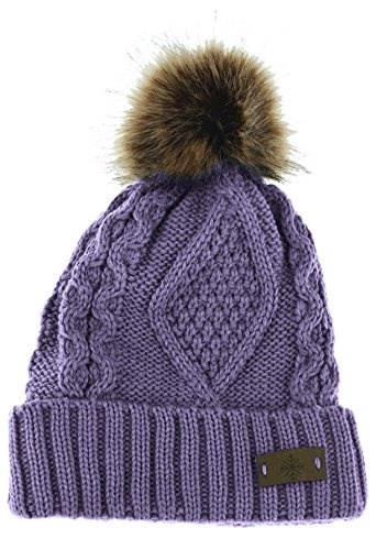 628415ac2e5 ANGELA WILLIAM Womens Faux Fur Pom Pom Fleece Lined Knitted Slouchy Beanie  Hat (Lavender)