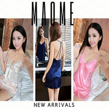 [Maome] DEC NEW Korea High Quality Satin Lace Lingerie Sleepwear Slip Dress Pyjamas Korea Dress