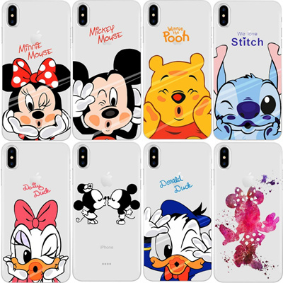 timeless design 951bc 3488f Minion Minnie Mickey Cases For iPhone X Cover for iPhone 4S 5C 5S 5 SE 6 6S  7 Plus Case Transparent