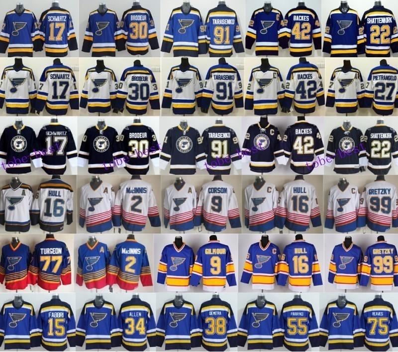 innovative design 6061e c9597 St. Louis Blues Jerseys Ice Hockey 42 David Backes Jersey 91 Vladimir  Tarasenko 16 Brett Hull 99 Way