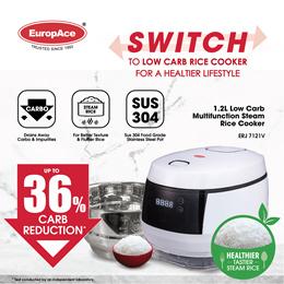*36% Starch Reduction* EuropAce 1.2L / 1.5L Low Carb Steam Rice Cooker ERJ 7121V / ERJ 7152V