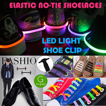 *FREE MAIL PROMO*Colorful Silicon Shoe Laces Shoelace Sneakers Shoelaces Leather LED Light Shoe Clip