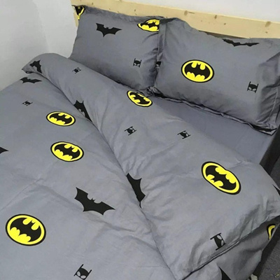 4pcs Set Comfortable Boys Batman Bedding Set With Cotton Duvet Cover Bed Sheet Pillow Case Cover