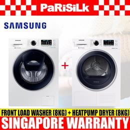 Samsung WW80K54E0UW/SP Front Load Washer (8kg) + DV80M5210QW/SP Heatpump Dryer (8kg)