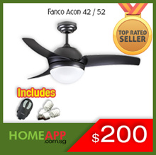 [HomeApp] ★★ FANCO A-CON ACON 42 52 ★★ Ceiling fan with Light n Remote. FREE BULBS / INSTALLATION OP