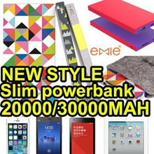 NEW STYLE Emie slim powerbank high capacity 20000mah/30000mah for iPhone6 iPhone5/5s/Samsung S5/Note3/LG/Xiaomi/HTC/SONY/Huawei/ZTE