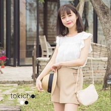 TOKICHOI - Round Neck Top with Ruffle Sleeves-170093