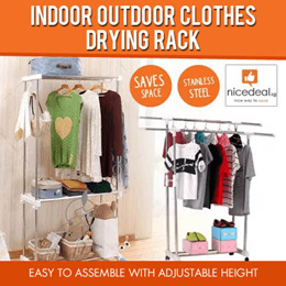 Indoor Outdoor Clothes Drying Rack/3 Level/Double or Single Rod/Extendable Hang Dry hanging dry rack