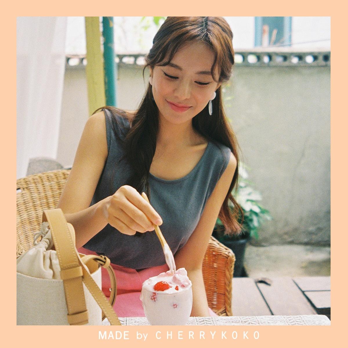 韓國正品 CHERRYKOKO 夏季新品 sunkist 厚肩帶舒適無袖T卹