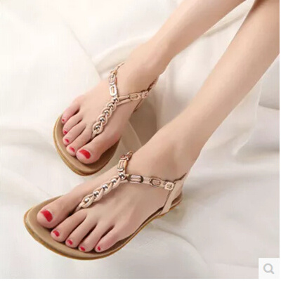 Bohemian summer new simple flat sandals female summer sexy thong sandals  resort Students shoes