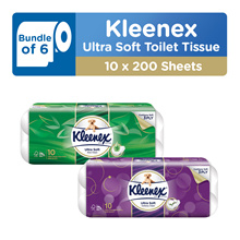 Bundle of 6 [KLEENEX] Ultra Soft Toilet Tissue 3PLY - Cottony Clean / Aloe Clean 10 x 200 sheets
