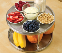 Lazy Susan Spice Rack Organizer Tabletop 2 Tier Stainless Steel Turning Table (Color: White)