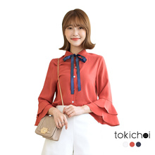 TOKICHOI - Ribbon Detailed Ruffled Shirt-180276
