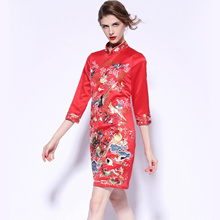 Fall 2017 slim red embroidered bride toast clothing improved cheongsam dress cocktail party dress wo