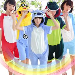 Summer Cartoon One Piece Sleepwear Cute Pajamas Anime Cosplay Pyjamas Costume Hoodie Adult Party Dress S M L XL