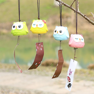 Cute Japanese ceramic OWL Bell ornament decoration cute birthday gifts baby  hanging Bell