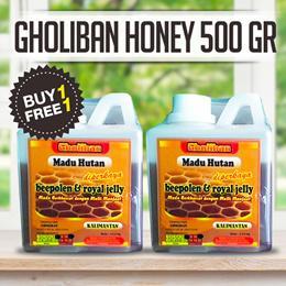 BUY 1+1 FREE Madu Hutan Kalimantan Gholiban Plus Bee Pollen Dan Royal Jelly 500 GR- EXPIRED 2018