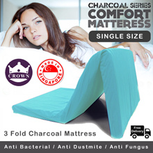 CROWN 3 Fold Charcoal Mattress SINGLE SIZE / Made in Singapore - 4 COLOURS / FREE Delivery