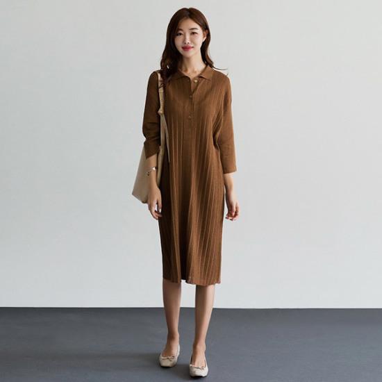 るみさんボタンカラニット・ワンピース 綿ワンピース/ 韓国ファッション