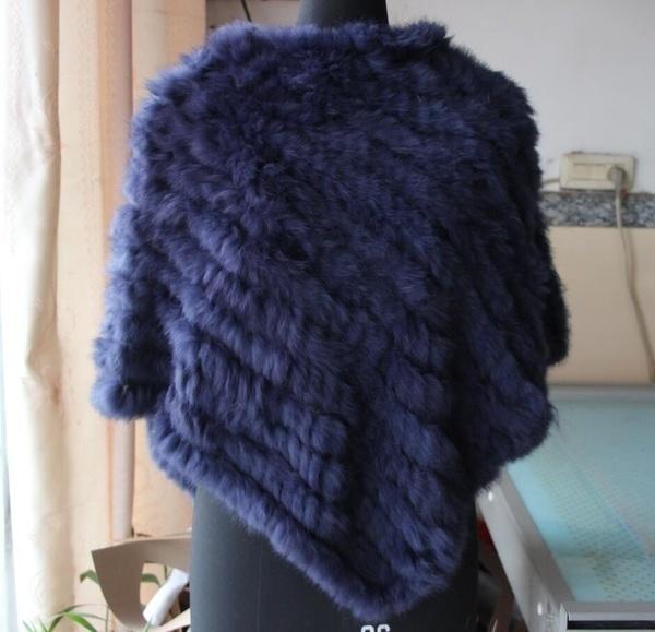 手作りのニットの女性ウサギの毛皮のポンチョ本物のウサギの毛皮のファッションポンチョショールジャケットコートの卸売