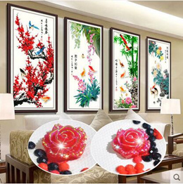 4 pcs / set  5D diamond painting full of cross stitch embroidered plum orchid bamboo