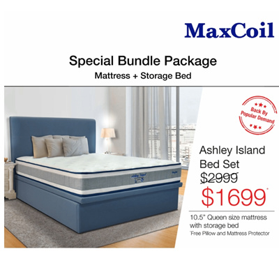 1dbf9323504896 MaxCoil Ashley Island Pocketed Spring Mattress Bed Bundle (All Sizes  Available)