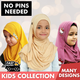 * CNY SALE * Kids Collection | Instant Shawls | Double Loop | Chiffon Printed | Moss Crepe | Muslima