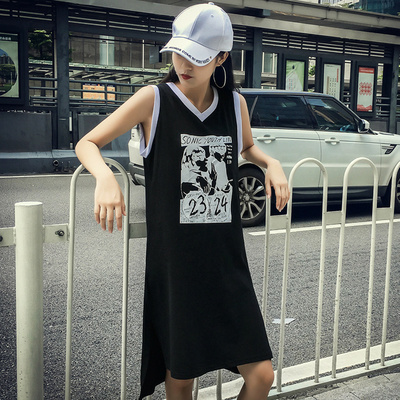 夏/新しいデザイン/韓国風/若いもの/ノースリーブ/タンクドレス/ロング/Tシャツワンピース/A型スカート/学生/何でも似合う/ワンピース /女