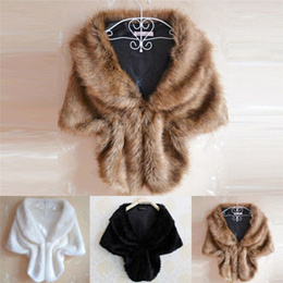 29174d7b7305 Hot New Women Plush Fur Bridal Wedding Jacket Wrap Shrug Ladies Shawl Cape