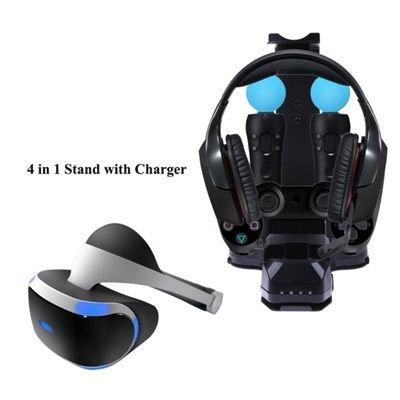 4 in 1 Stand with Charger Charging Station for PS4 PlayStation PS VR Headset Charger