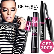 BIOAQUA 2pcs/set - Black Mascara Waterproof Silk Fiber Volume Double Effect Long Lasting