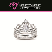 18K White Gold Plated Anti-tarnish Silver 2 in 1 Tiara ring with Fine Cut Simulated Diamonds! R4342S