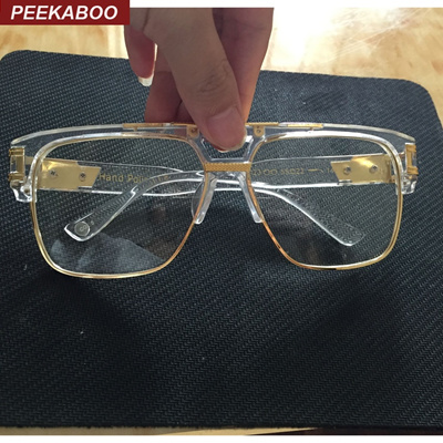 283a3a87a67e new fashion oversized gold clear frame glasses square designer frames  eyeglasses male female big