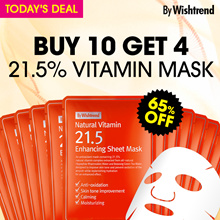 [By Wishtrend] Natural Vitamin 21.5 Enhancing Sheet Mask (10 Sheet) / No.1 Vitamin C /