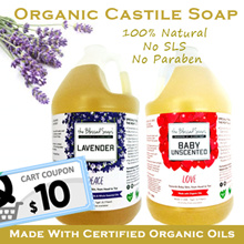 Organic Castile Soap 1 gallon The Blessed Soap 100% Organic Natural Oils