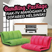 [FREE SHIPPING] BUNDLING HEMAT!! RAK TV Mahogany 1500 TV Cabinet AND SOFA BED HELSINSKI